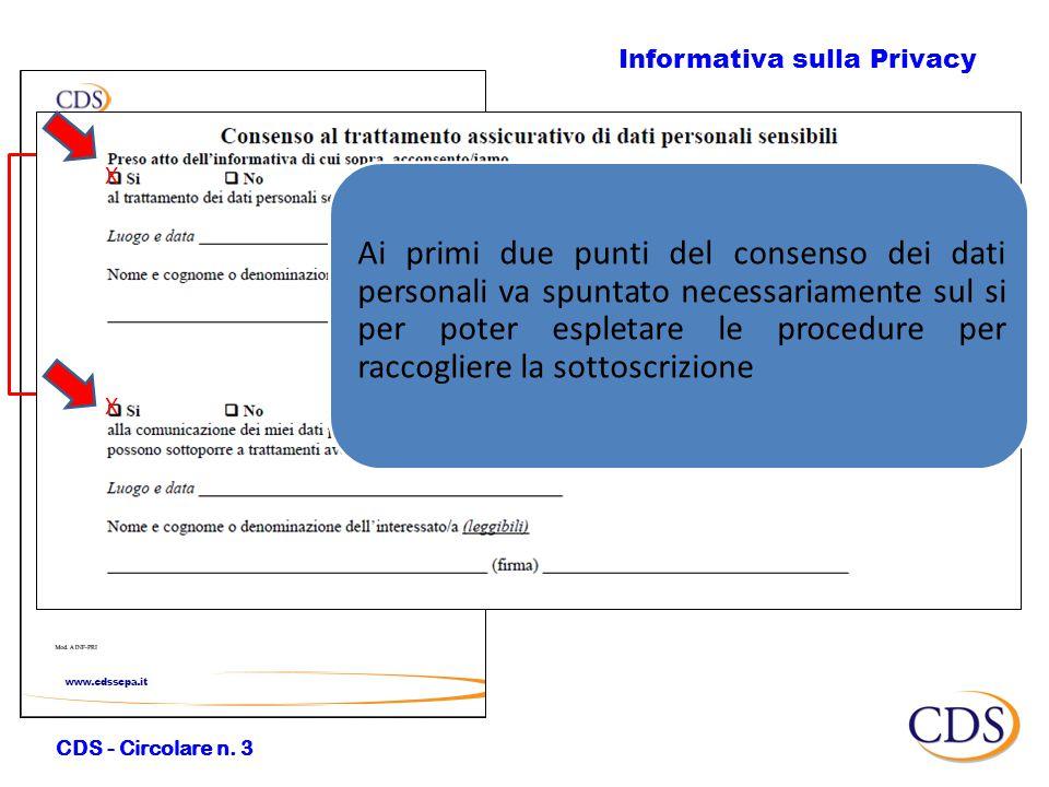 Informativa sulla Privacy CDS - Circolare n.