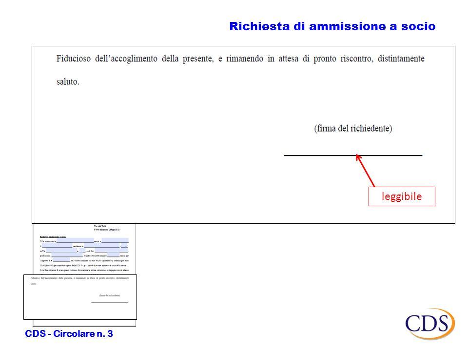 Richiesta di ammissione a socio CDS - Circolare n. 3 leggibile