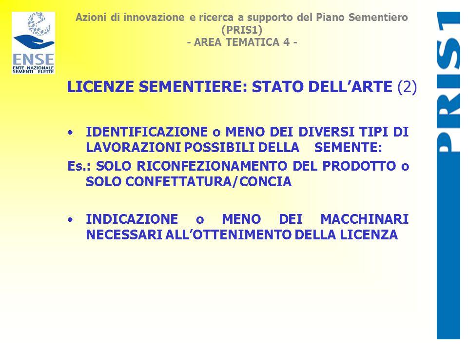 Azioni di innovazione e ricerca a supporto del Piano Sementiero (PRIS1) - AREA TEMATICA 4 - IDENTIFICAZIONE o MENO DEI DIVERSI TIPI DI LAVORAZIONI POSSIBILI DELLA SEMENTE: Es.: SOLO RICONFEZIONAMENTO DEL PRODOTTO o SOLO CONFETTATURA/CONCIA INDICAZIONE o MENO DEI MACCHINARI NECESSARI ALL'OTTENIMENTO DELLA LICENZA LICENZE SEMENTIERE: STATO DELL'ARTE (2)