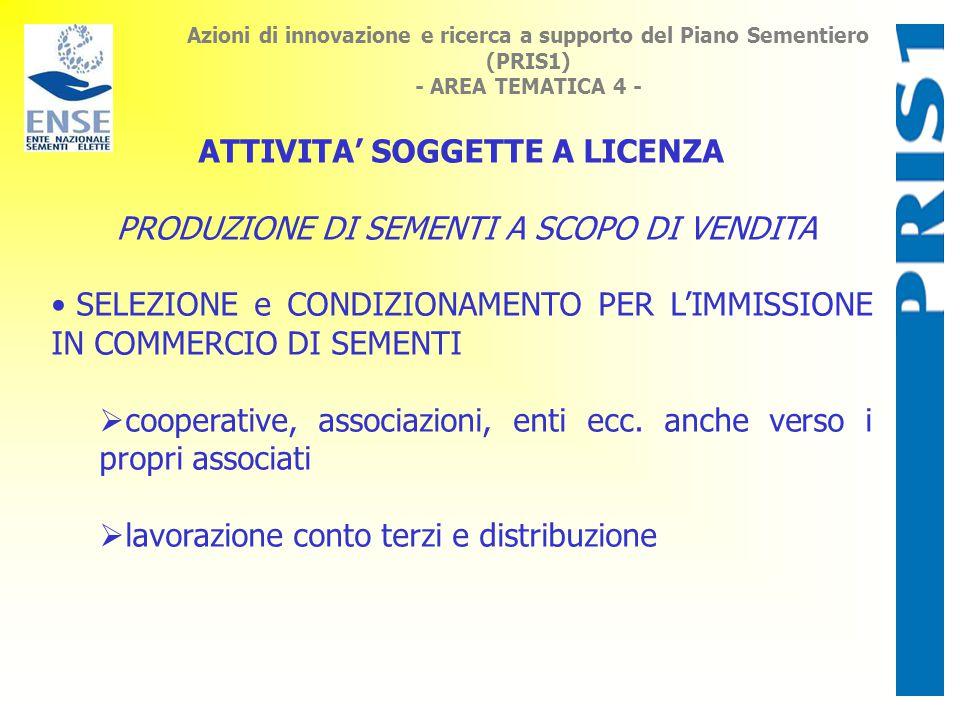 Azioni di innovazione e ricerca a supporto del Piano Sementiero (PRIS1) - AREA TEMATICA 4 - ATTIVITA' SOGGETTE A LICENZA PRODUZIONE DI SEMENTI A SCOPO DI VENDITA SELEZIONE e CONDIZIONAMENTO PER L'IMMISSIONE IN COMMERCIO DI SEMENTI  cooperative, associazioni, enti ecc.
