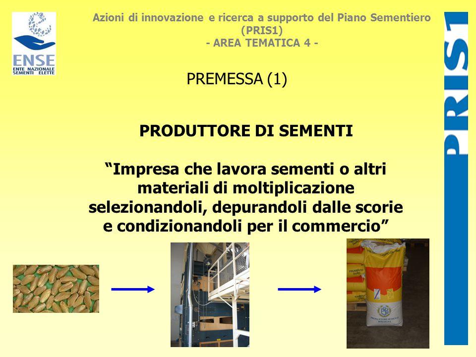 Azioni di innovazione e ricerca a supporto del Piano Sementiero (PRIS1) - AREA TEMATICA 4 - PREMESSA (1) PRODUTTORE DI SEMENTI Impresa che lavora sementi o altri materiali di moltiplicazione selezionandoli, depurandoli dalle scorie e condizionandoli per il commercio