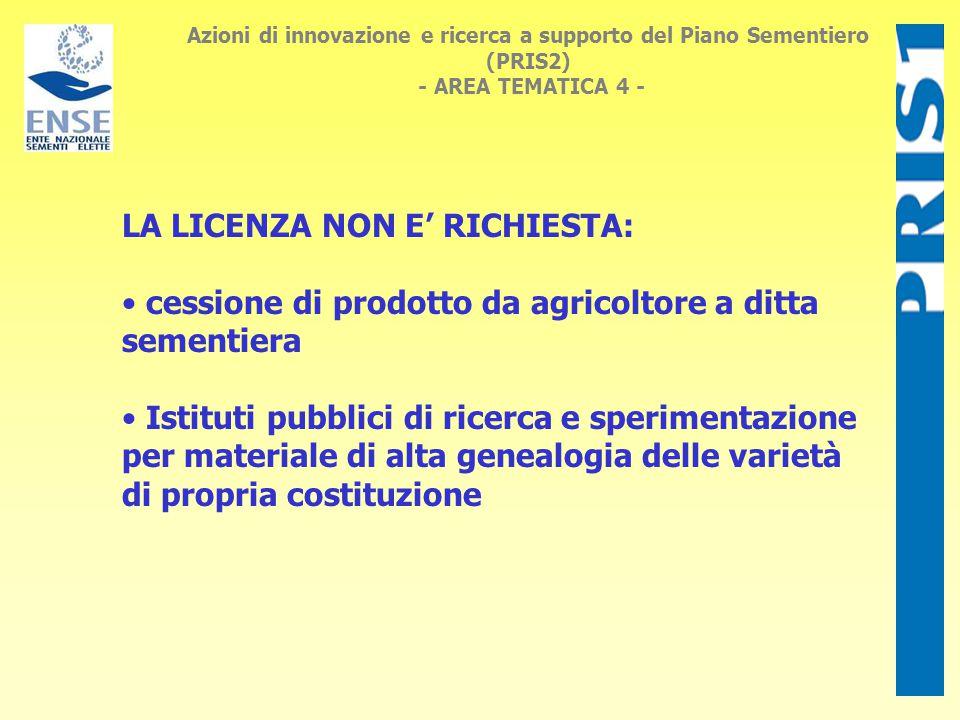 Azioni di innovazione e ricerca a supporto del Piano Sementiero (PRIS2) - AREA TEMATICA 4 - SEMENTI ORTIVE della CATEGORIA STANDARD Solo per operazioni di riconfezionamento: ex licenza prefettizia (L.