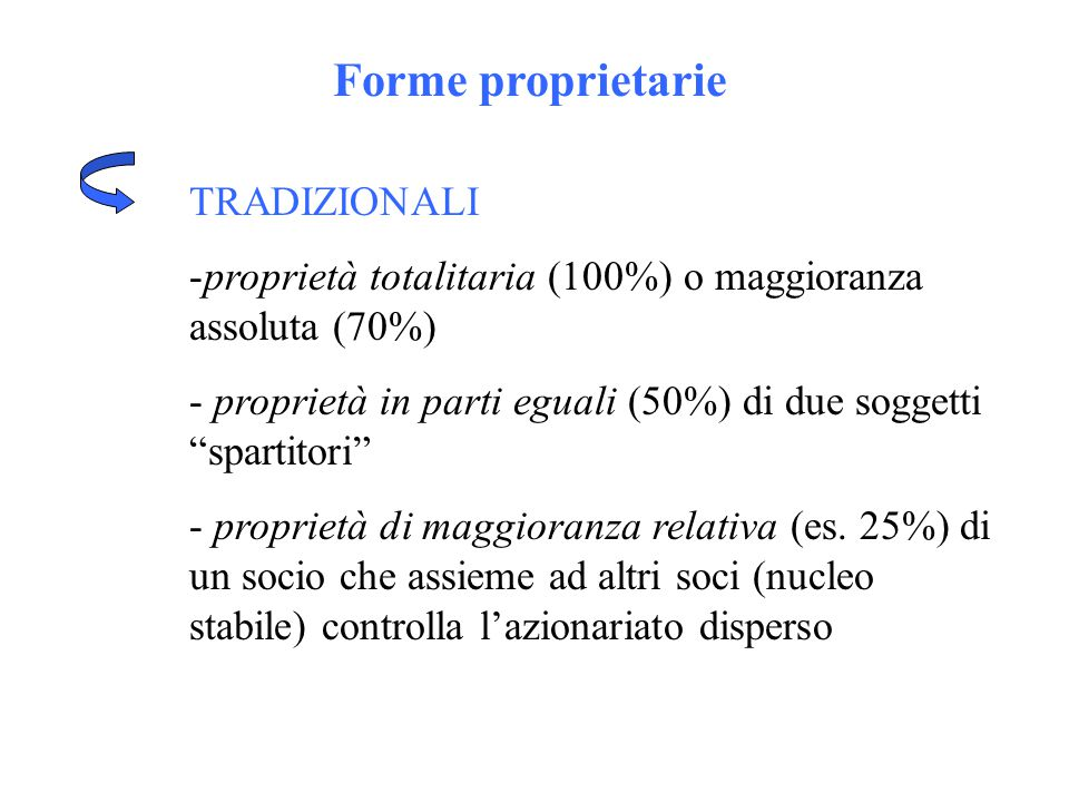 """Forme proprietarie TRADIZIONALI -proprietà totalitaria (100%) o maggioranza assoluta (70%) - proprietà in parti eguali (50%) di due soggetti """"spartito"""