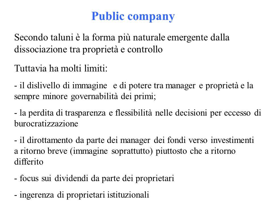 Public company Secondo taluni è la forma più naturale emergente dalla dissociazione tra proprietà e controllo Tuttavia ha molti limiti : - il dislivel