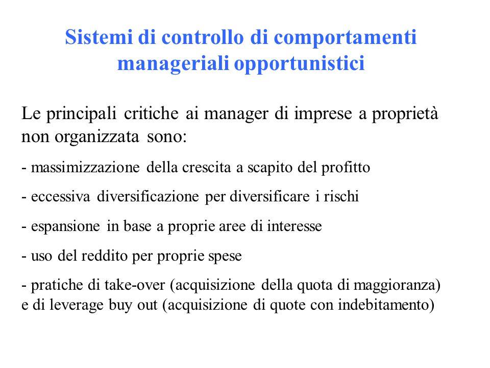 Sistemi di controllo di comportamenti manageriali opportunistici Le principali critiche ai manager di imprese a proprietà non organizzata sono: - mass