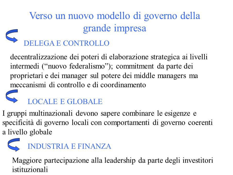 """Verso un nuovo modello di governo della grande impresa decentralizzazione dei poteri di elaborazione strategica ai livelli intermedi (""""nuovo federalis"""