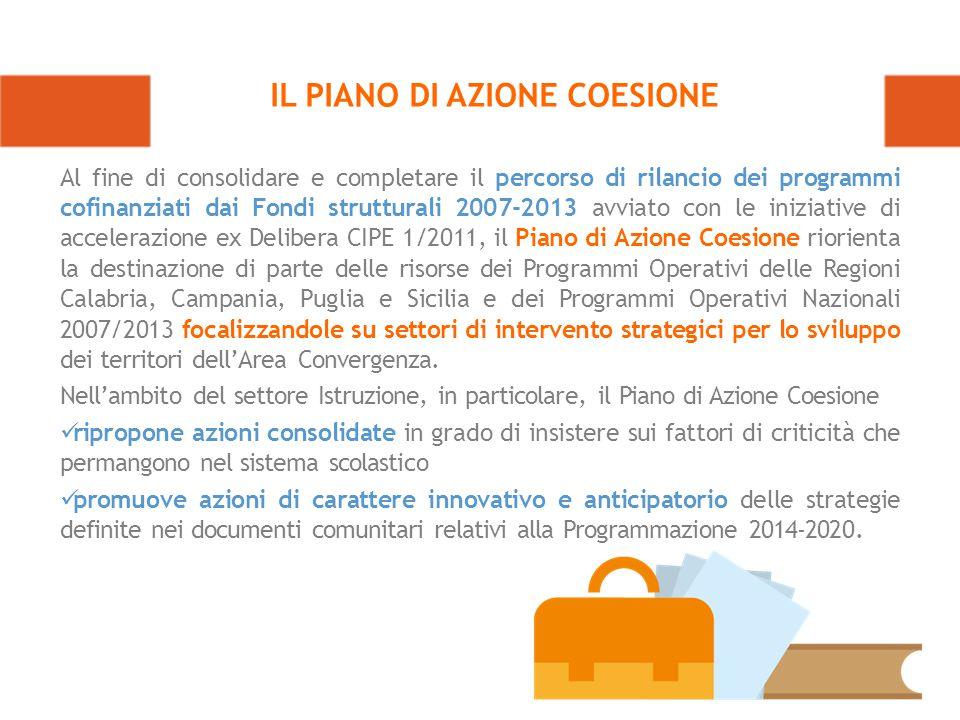 Al fine di consolidare e completare il percorso di rilancio dei programmi cofinanziati dai Fondi strutturali 2007-2013 avviato con le iniziative di accelerazione ex Delibera CIPE 1/2011, il Piano di Azione Coesione riorienta la destinazione di parte delle risorse dei Programmi Operativi delle Regioni Calabria, Campania, Puglia e Sicilia e dei Programmi Operativi Nazionali 2007/2013 focalizzandole su settori di intervento strategici per lo sviluppo dei territori dell'Area Convergenza.