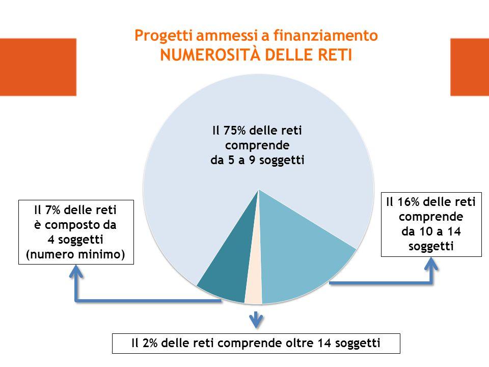 Il 16% delle reti comprende da 10 a 14 soggetti Il 2% delle reti comprende oltre 14 soggetti Il 75% delle reti comprende da 5 a 9 soggetti Progetti ammessi a finanziamento NUMEROSITÀ DELLE RETI Il 7% delle reti è composto da 4 soggetti (numero minimo)
