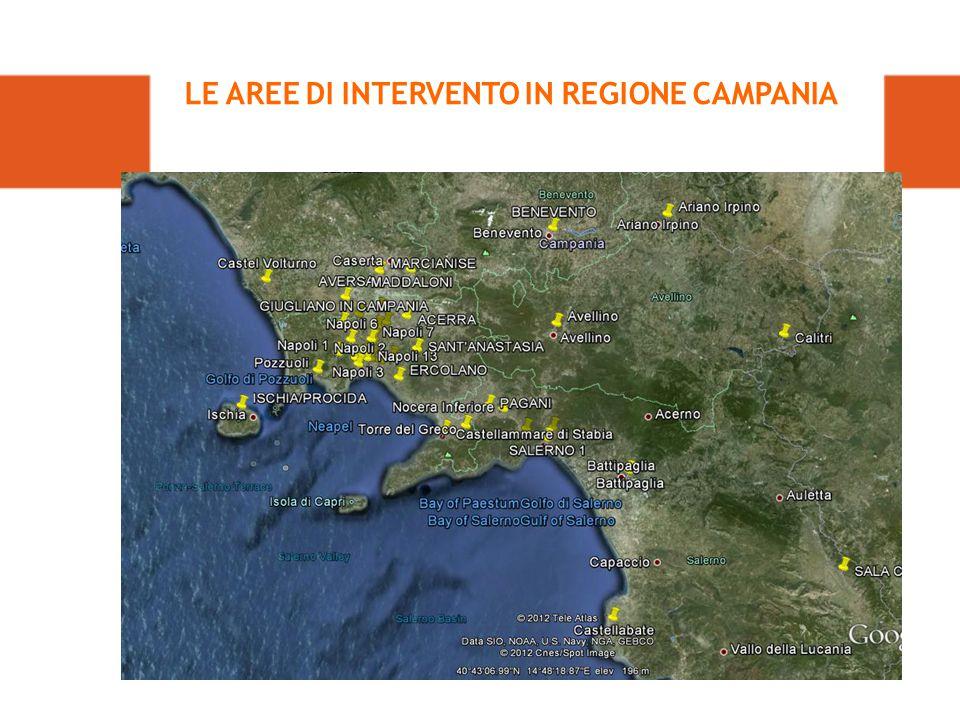 LE AREE DI INTERVENTO IN REGIONE CAMPANIA