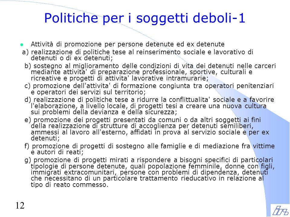 12 Politiche per i soggetti deboli-1 l Attività di promozione per persone detenute ed ex detenute a) realizzazione di politiche tese al reinserimento
