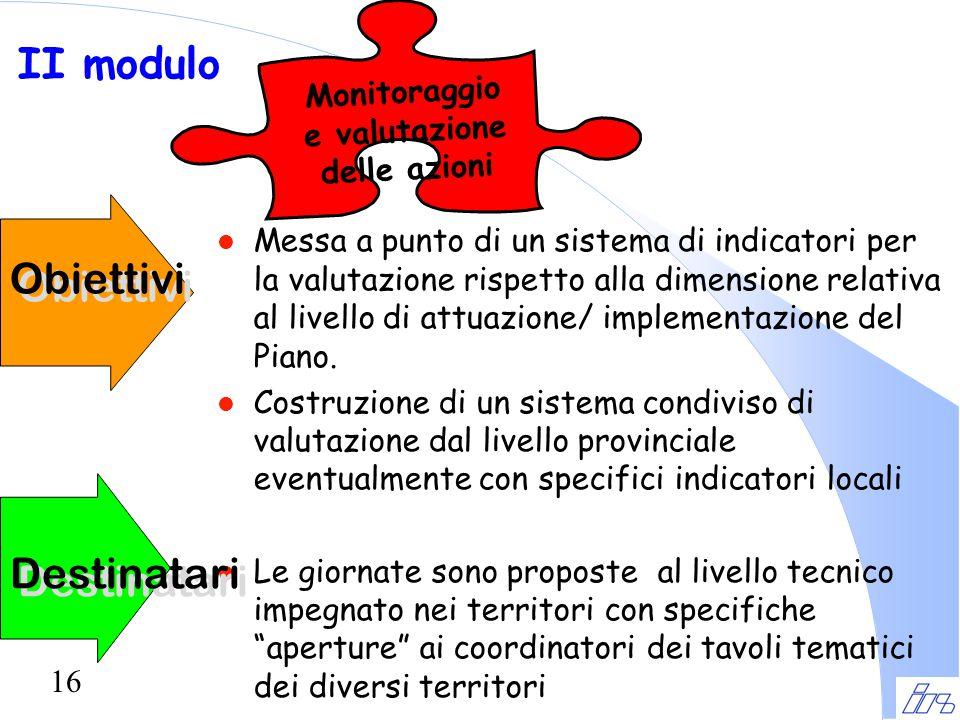 16 Obiettivi l Messa a punto di un sistema di indicatori per la valutazione rispetto alla dimensione relativa al livello di attuazione/ implementazion
