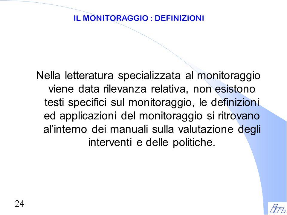 24 Nella letteratura specializzata al monitoraggio viene data rilevanza relativa, non esistono testi specifici sul monitoraggio, le definizioni ed app