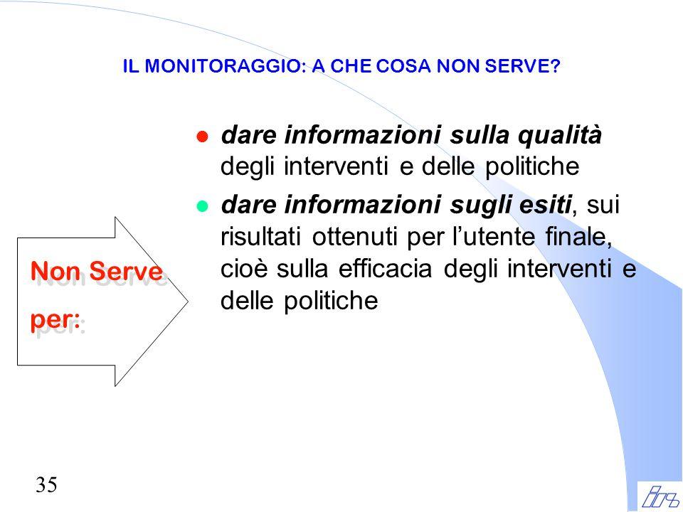 35 IL MONITORAGGIO: A CHE COSA NON SERVE? l dare informazioni sulla qualità degli interventi e delle politiche l dare informazioni sugli esiti, sui ri