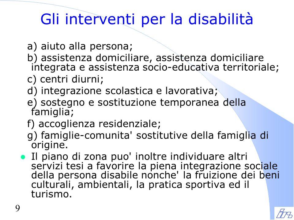 9 Gli interventi per la disabilità a) aiuto alla persona; b) assistenza domiciliare, assistenza domiciliare integrata e assistenza socio-educativa ter