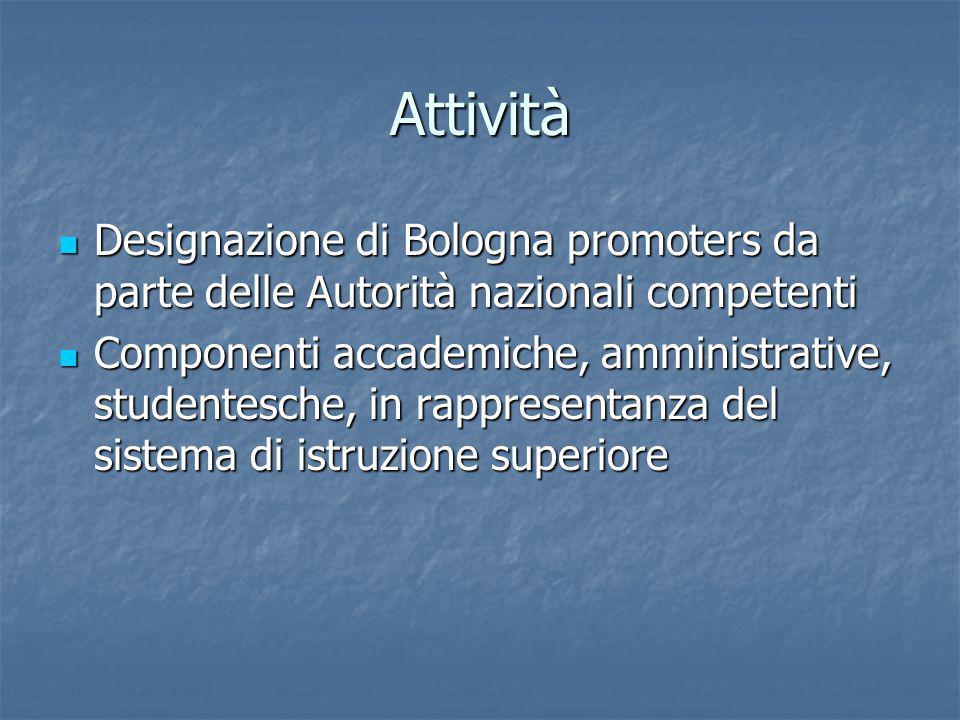 Attività Designazione di Bologna promoters da parte delle Autorità nazionali competenti Designazione di Bologna promoters da parte delle Autorità nazionali competenti Componenti accademiche, amministrative, studentesche, in rappresentanza del sistema di istruzione superiore Componenti accademiche, amministrative, studentesche, in rappresentanza del sistema di istruzione superiore