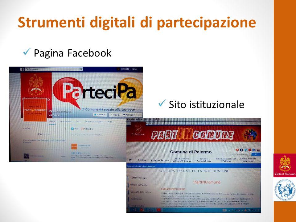 Strumenti digitali di partecipazione Pagina Facebook Sito istituzionale