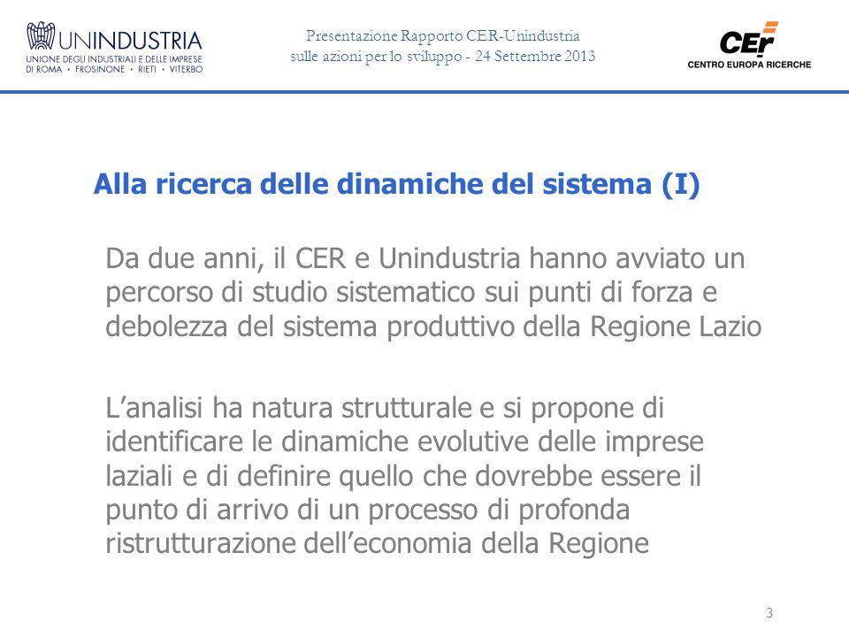 Presentazione Rapporto CER-Unindustria sulle azioni per lo sviluppo - 24 Settembre 2013 4 Alla ricerca delle dinamiche del sistema (II) Un approccio metodologico motivato da una constatazione fondamentale La crisi che ha preso avvio nel 2007 non è un semplice episodio ciclico, ma una cesura strutturale nei percorsi di sviluppo della Regione (e dell'Italia intera) Prospettive di crescita dignitose potranno essere recuperate solo se si riuscirà ad imprimere una discontinuità profonda al posizionamento competitivo delle imprese del Lazio