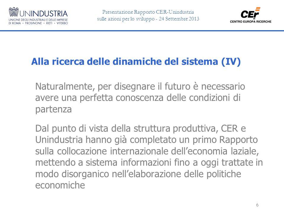 Presentazione Rapporto CER-Unindustria sulle azioni per lo sviluppo - 24 Settembre 2013 17 Lazio: specializzazione nella R&S