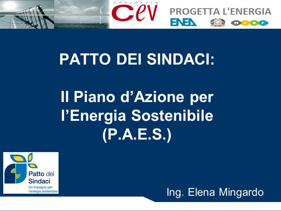 PATTO DEI SINDACI: Il Piano d'Azione per l'Energia Sostenibile (P.A.E.S.) Ing. Elena Mingardo