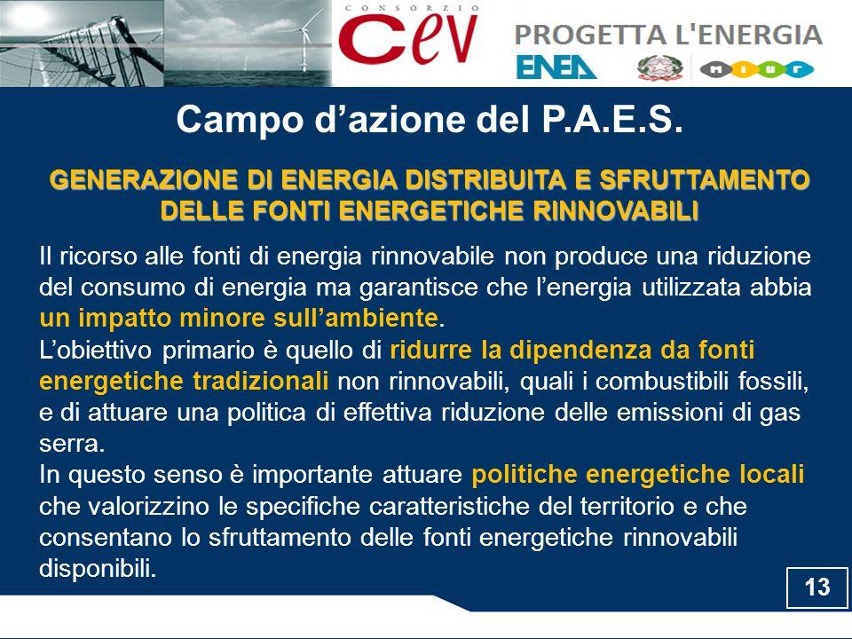 Campo d'azione del P.A.E.S. GENERAZIONE DI ENERGIA DISTRIBUITA E SFRUTTAMENTO DELLE FONTI ENERGETICHE RINNOVABILI Il ricorso alle fonti di energia rin