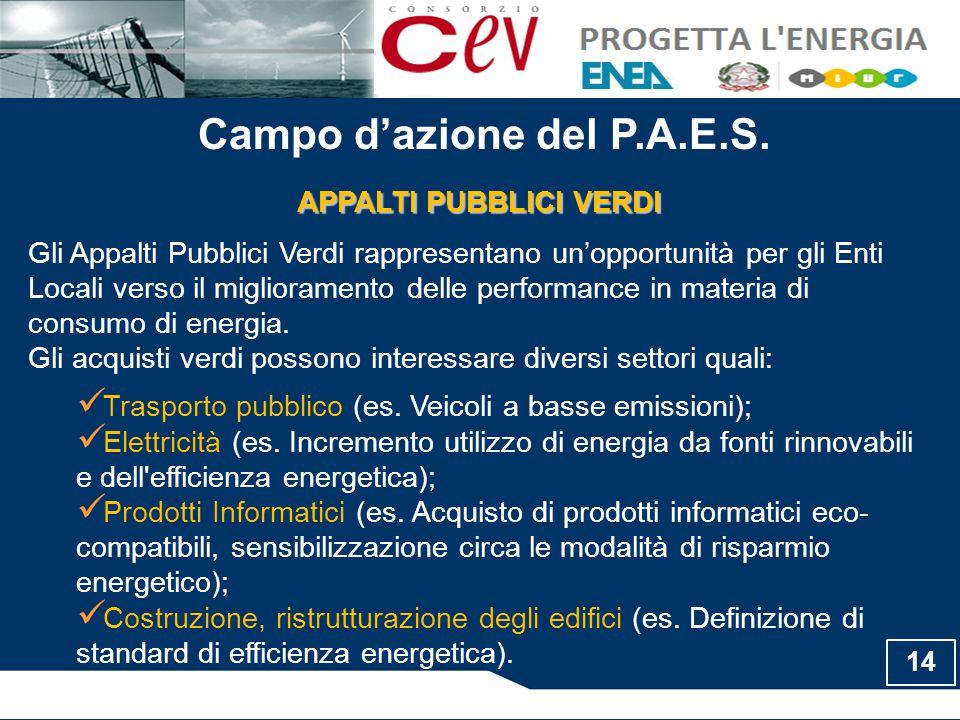 Campo d'azione del P.A.E.S.