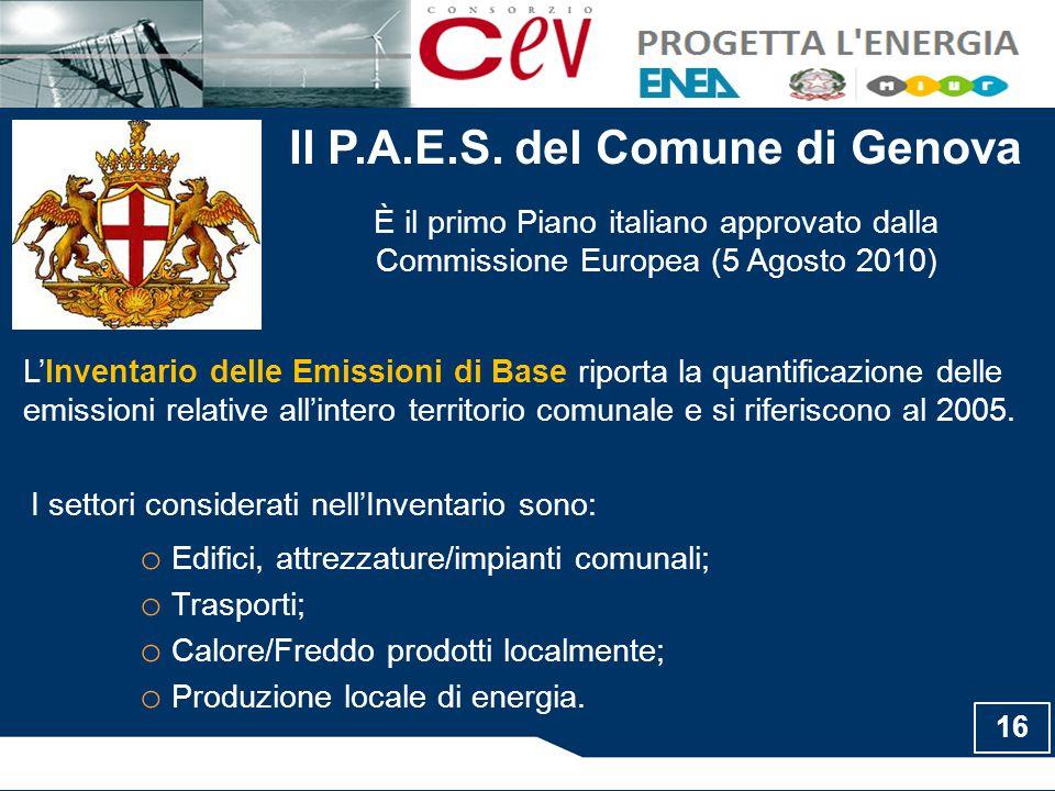 Il P.A.E.S. del Comune di Genova È il primo Piano italiano approvato dalla Commissione Europea (5 Agosto 2010) L'Inventario delle Emissioni di Base ri
