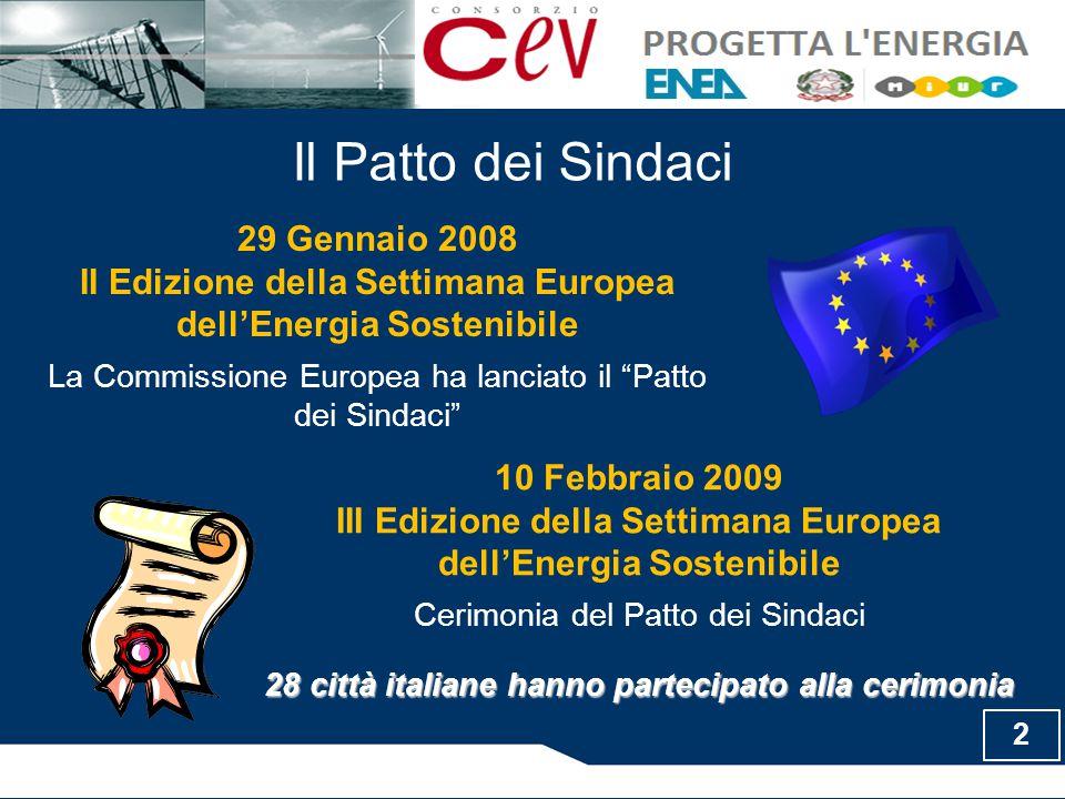 Il Patto dei Sindaci 29 Gennaio 2008 II Edizione della Settimana Europea dell'Energia Sostenibile La Commissione Europea ha lanciato il Patto dei Sindaci 10 Febbraio 2009 III Edizione della Settimana Europea dell'Energia Sostenibile Cerimonia del Patto dei Sindaci 28 città italiane hanno partecipato alla cerimonia 2