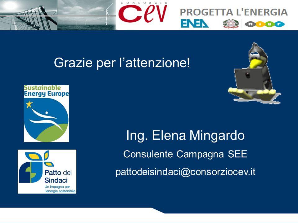 Grazie per l'attenzione! Ing. Elena Mingardo Consulente Campagna SEE pattodeisindaci@consorziocev.it
