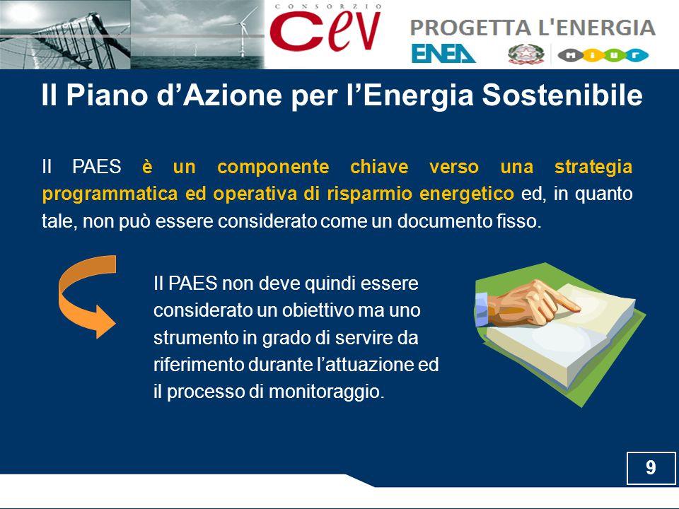 Il PAES è un componente chiave verso una strategia programmatica ed operativa di risparmio energetico ed, in quanto tale, non può essere considerato come un documento fisso.