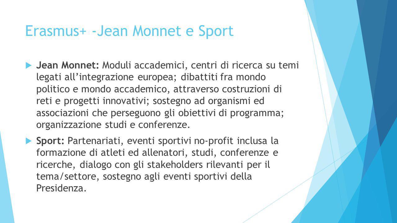Erasmus+ -Jean Monnet e Sport  Jean Monnet: Moduli accademici, centri di ricerca su temi legati all'integrazione europea; dibattiti fra mondo politico e mondo accademico, attraverso costruzioni di reti e progetti innovativi; sostegno ad organismi ed associazioni che perseguono gli obiettivi di programma; organizzazione studi e conferenze.