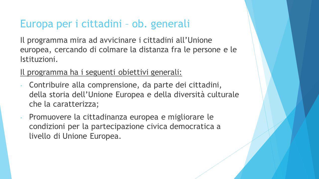 Europa per i cittadini – ob. generali Il programma mira ad avvicinare i cittadini all'Unione europea, cercando di colmare la distanza fra le persone e