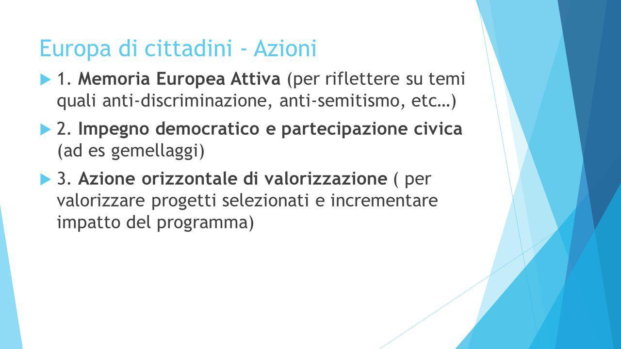 Europa di cittadini - Azioni  1. Memoria Europea Attiva (per riflettere su temi quali anti-discriminazione, anti-semitismo, etc…)  2. Impegno democr