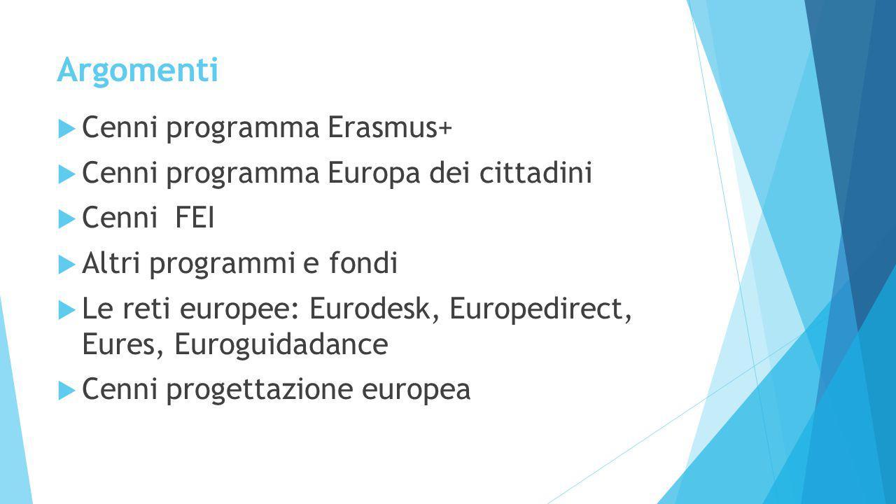 Argomenti  Cenni programma Erasmus+  Cenni programma Europa dei cittadini  Cenni FEI  Altri programmi e fondi  Le reti europee: Eurodesk, Europedirect, Eures, Euroguidadance  Cenni progettazione europea