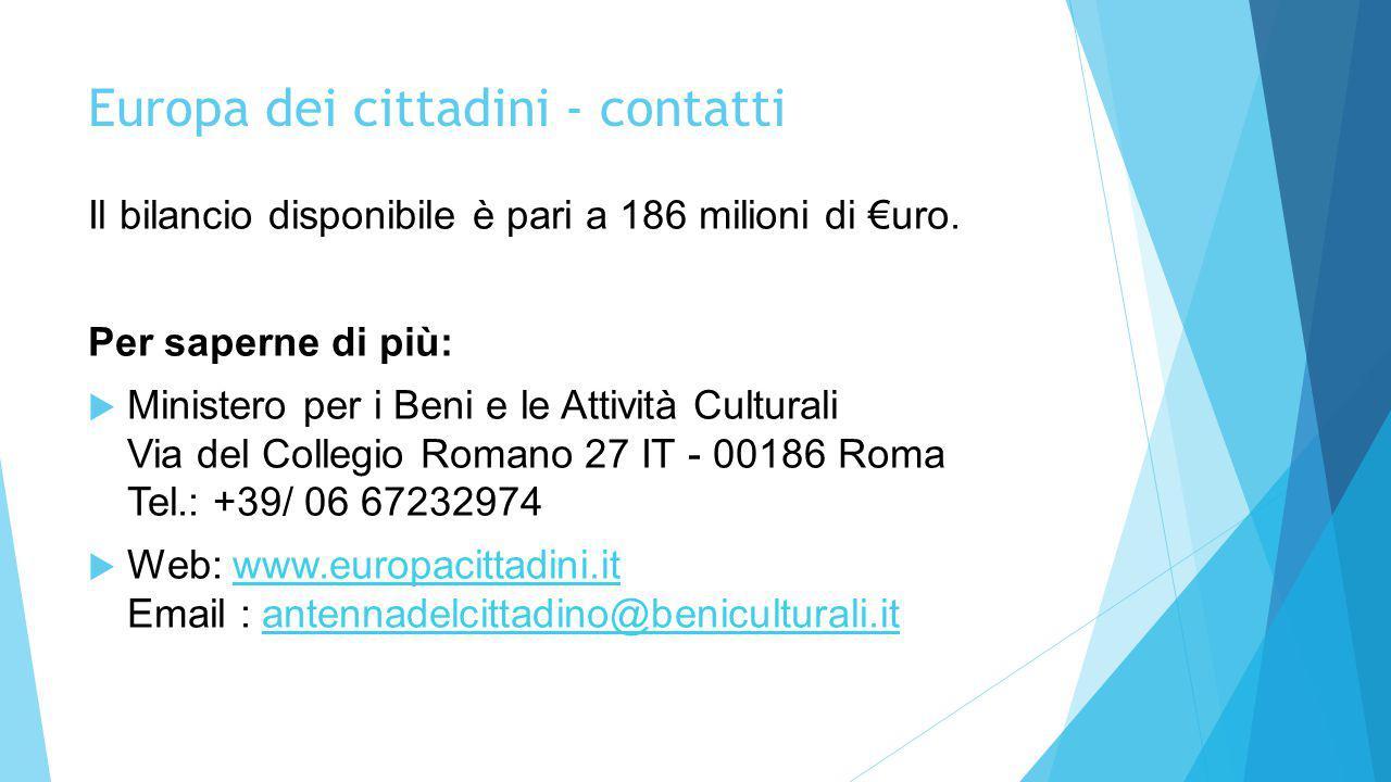 Europa dei cittadini - contatti Il bilancio disponibile è pari a 186 milioni di €uro. Per saperne di più:  Ministero per i Beni e le Attività Cultura