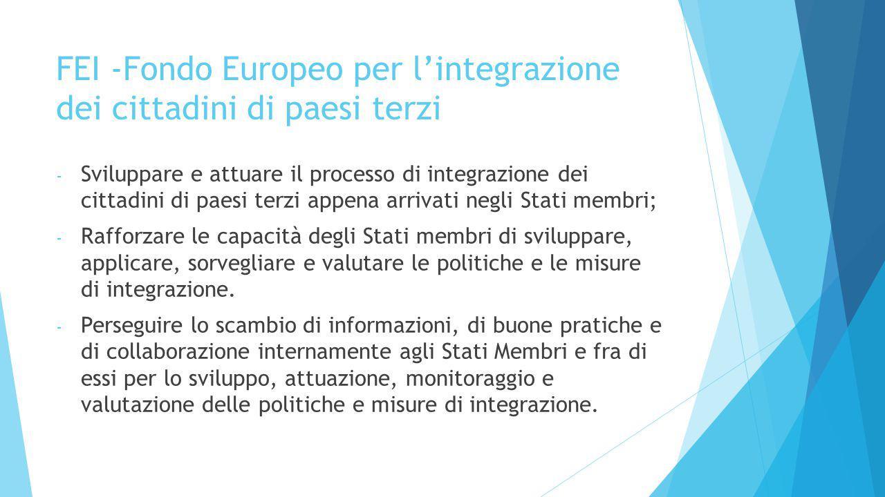 FEI -Fondo Europeo per l'integrazione dei cittadini di paesi terzi - Sviluppare e attuare il processo di integrazione dei cittadini di paesi terzi app