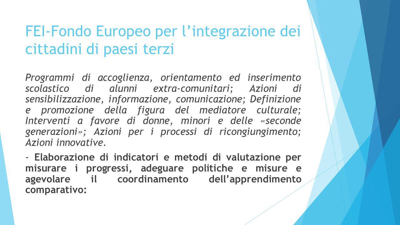 FEI-Fondo Europeo per l'integrazione dei cittadini di paesi terzi Programmi di accoglienza, orientamento ed inserimento scolastico di alunni extra-com