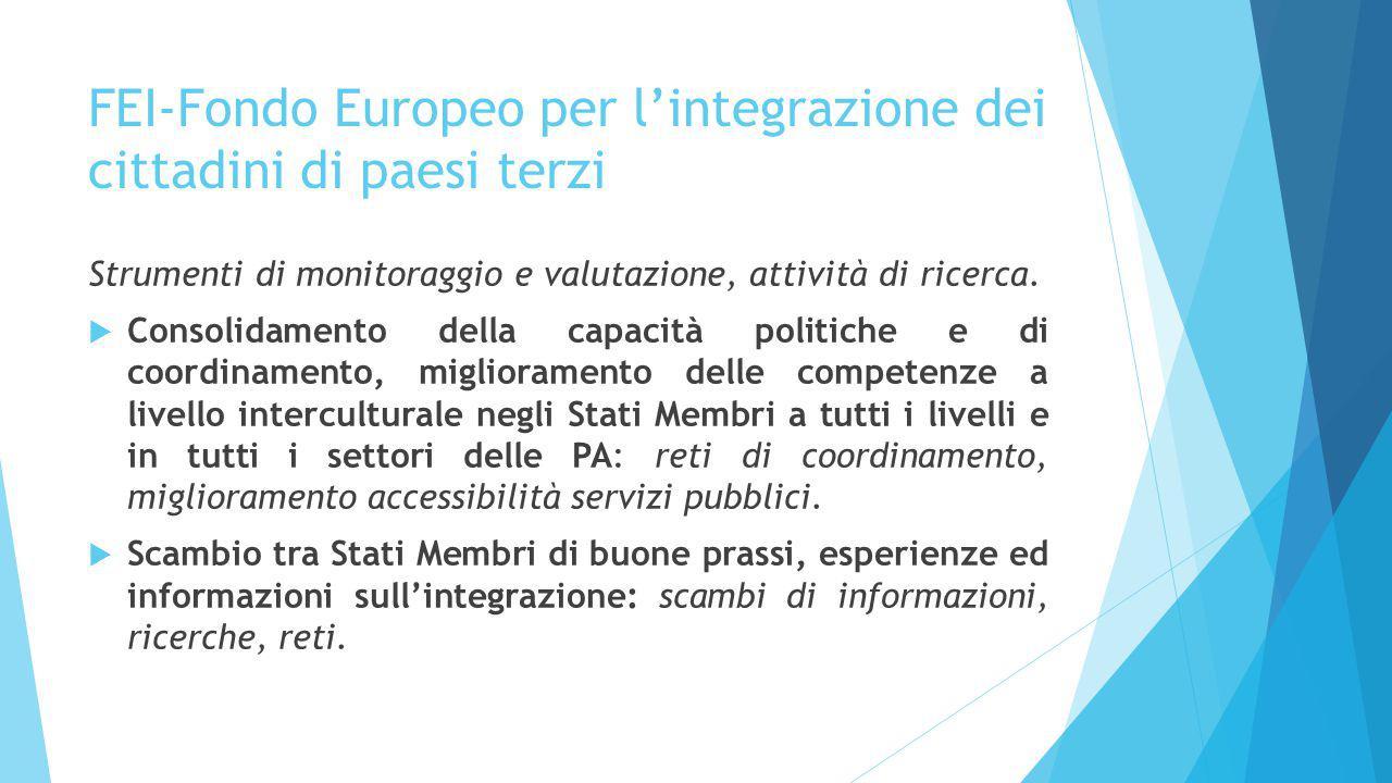 FEI-Fondo Europeo per l'integrazione dei cittadini di paesi terzi Strumenti di monitoraggio e valutazione, attività di ricerca.  Consolidamento della