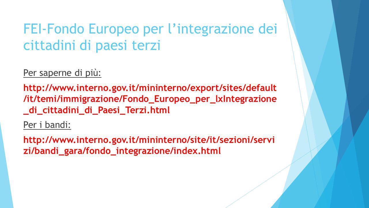 FEI-Fondo Europeo per l'integrazione dei cittadini di paesi terzi Per saperne di più: http://www.interno.gov.it/mininterno/export/sites/default /it/temi/immigrazione/Fondo_Europeo_per_lxIntegrazione _di_cittadini_di_Paesi_Terzi.html Per i bandi: http://www.interno.gov.it/mininterno/site/it/sezioni/servi zi/bandi_gara/fondo_integrazione/index.html