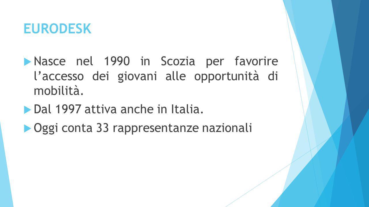 EURODESK  Nasce nel 1990 in Scozia per favorire l'accesso dei giovani alle opportunità di mobilità.  Dal 1997 attiva anche in Italia.  Oggi conta 3