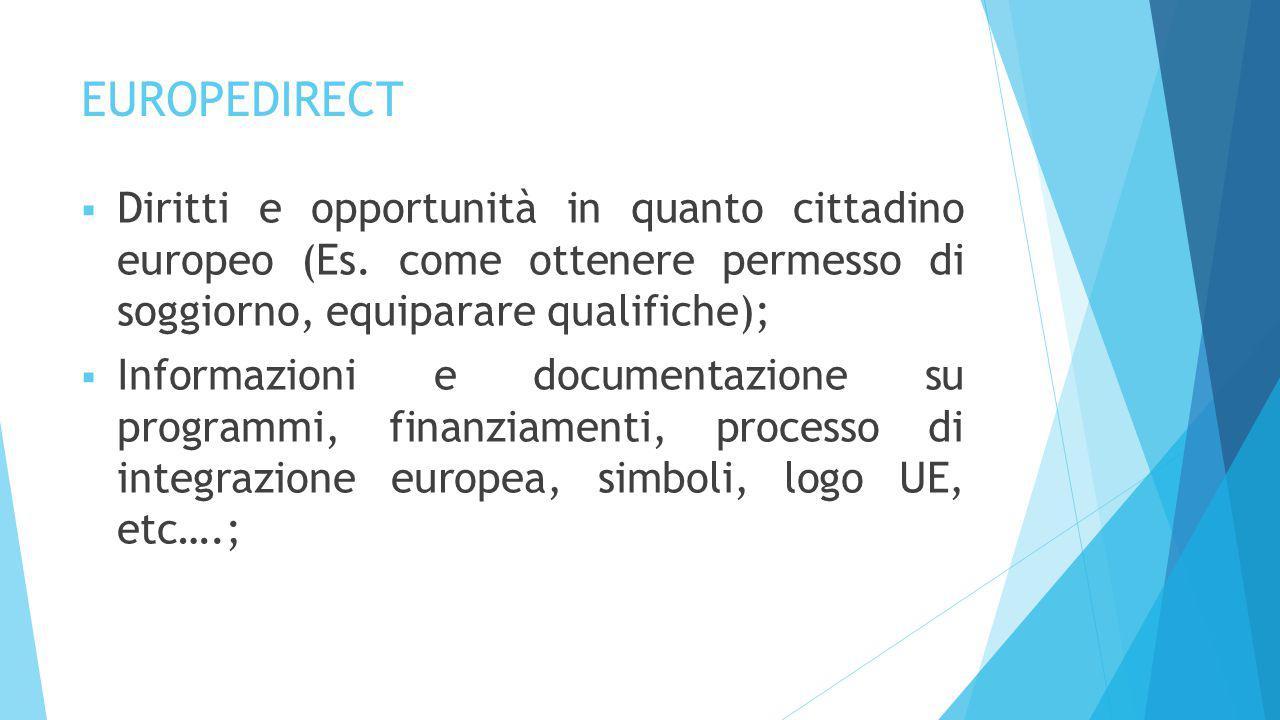 EUROPEDIRECT  Diritti e opportunità in quanto cittadino europeo (Es.