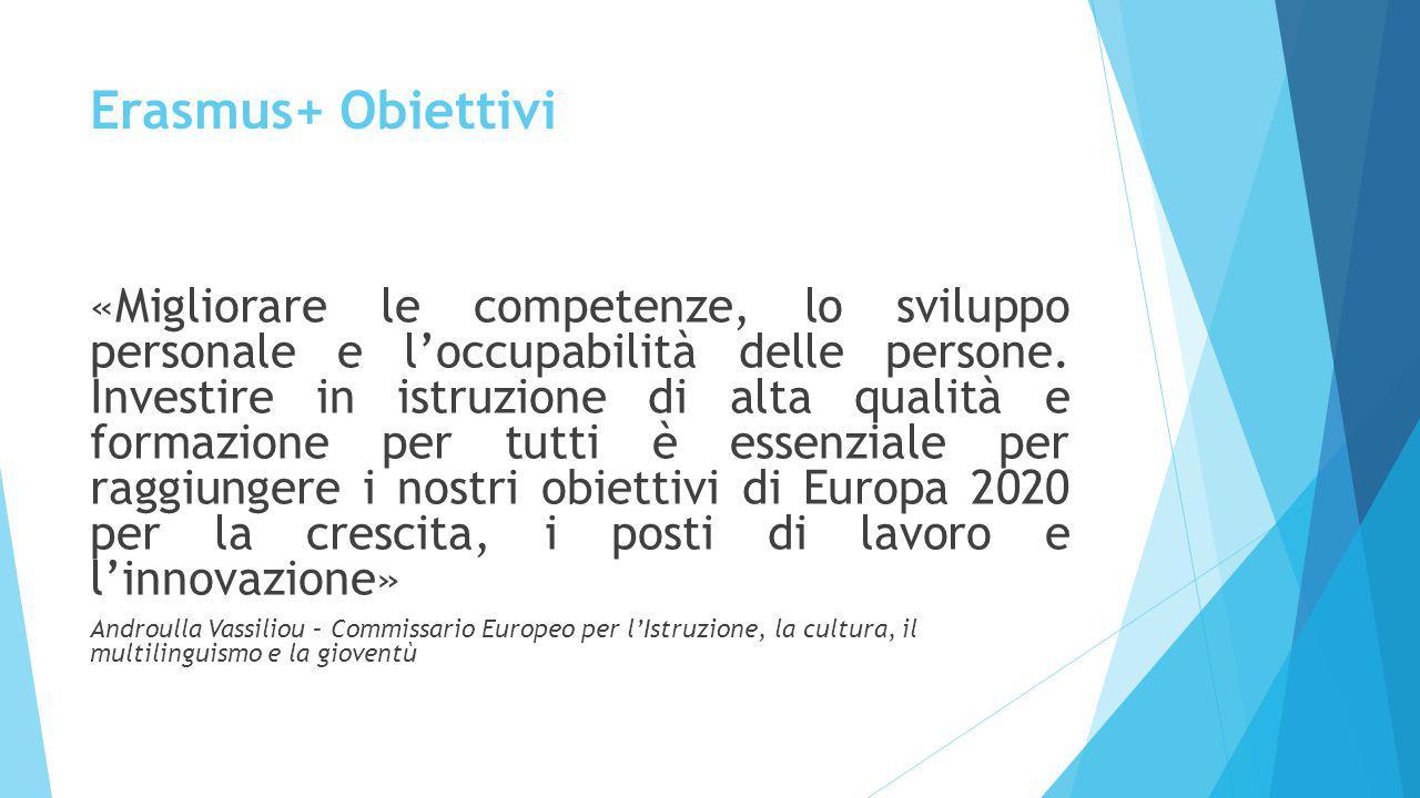 Erasmus+ Obiettivi «Migliorare le competenze, lo sviluppo personale e l'occupabilità delle persone. Investire in istruzione di alta qualità e formazio