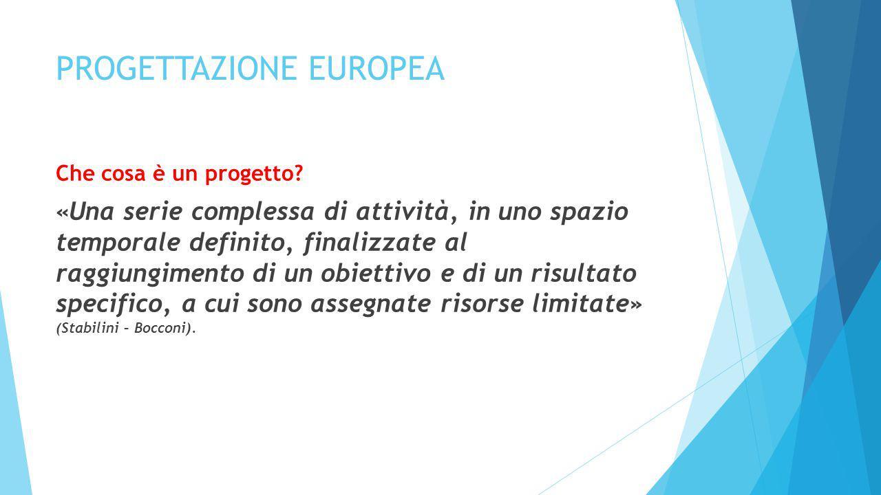PROGETTAZIONE EUROPEA Che cosa è un progetto? «Una serie complessa di attività, in uno spazio temporale definito, finalizzate al raggiungimento di un