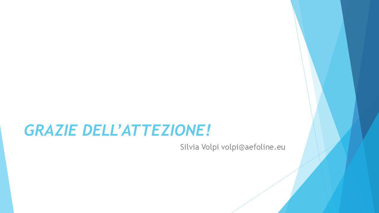 GRAZIE DELL'ATTEZIONE! Silvia Volpi volpi@aefoline.eu