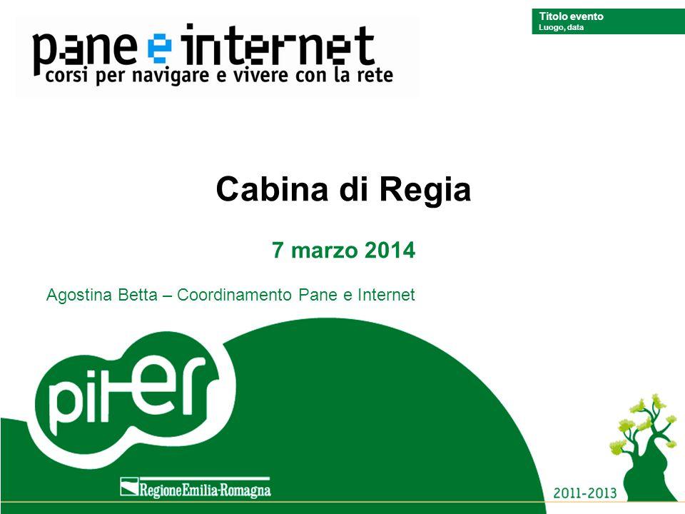 Titolo evento Luogo, data Titolo evento Luogo, data Cabina di Regia 7 marzo 2014 Agostina Betta – Coordinamento Pane e Internet