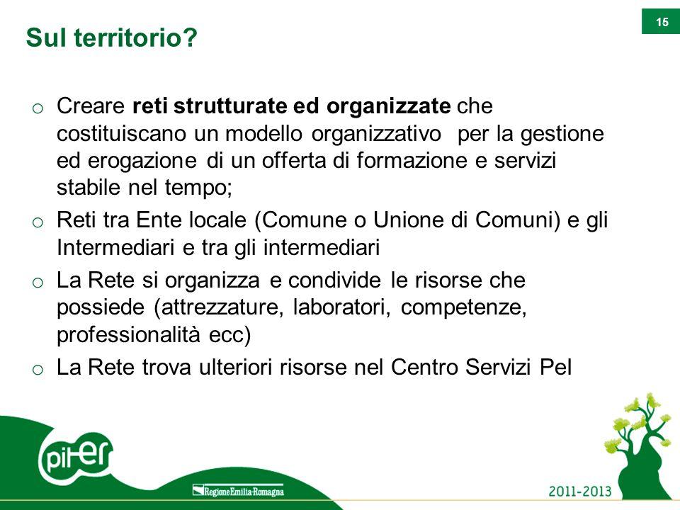 15 Sul territorio? o Creare reti strutturate ed organizzate che costituiscano un modello organizzativo per la gestione ed erogazione di un offerta di
