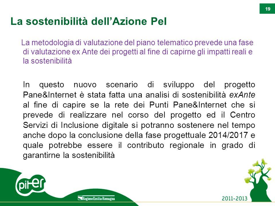 19 La sostenibilità dell'Azione PeI La metodologia di valutazione del piano telematico prevede una fase di valutazione ex Ante dei progetti al fine di