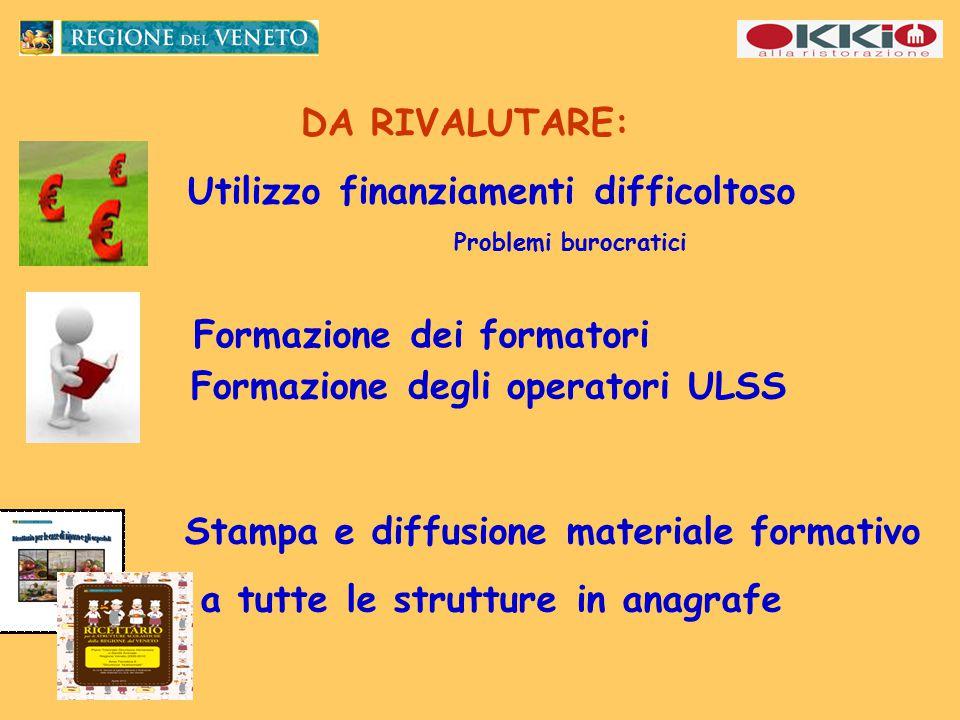 Utilizzo finanziamenti difficoltoso Problemi burocratici DA RIVALUTARE: Formazione dei formatori Formazione degli operatori ULSS Stampa e diffusione materiale formativo a tutte le strutture in anagrafe