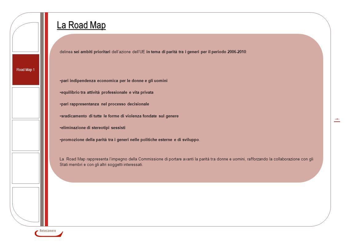 3 Road Map 1 La Road Map delinea sei ambiti prioritari dell'azione dell'UE in tema di parità tra i generi per il periodo 2006-2010: pari indipendenza economica per le donne e gli uomini equilibrio tra attività professionale e vita privata pari rappresentanza nel processo decisionale sradicamento di tutte le forme di violenza fondate sul genere eliminazione di stereotipi sessisti promozione della parità tra i generi nelle politiche esterne e di sviluppo.