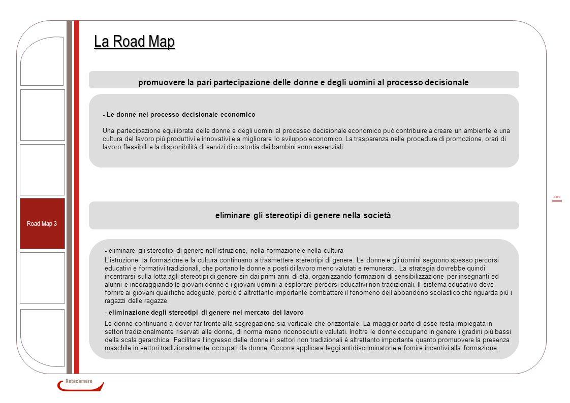 5 La Road Map promuovere la pari partecipazione delle donne e degli uomini al processo decisionale - Le donne nel processo decisionale economico Una p
