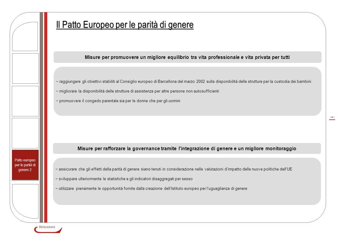 7 Il Patto Europeo per le parità di genere Misure per promuovere un migliore equilibrio tra vita professionale e vita privata per tutti − raggiungere